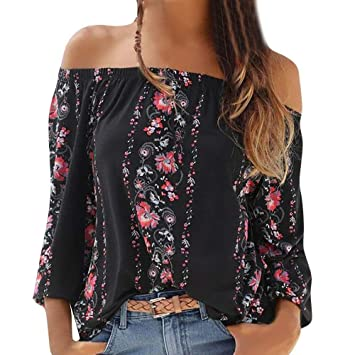 TINGSU - Camisa para mujer, estilo bohemio, estampado floral ...