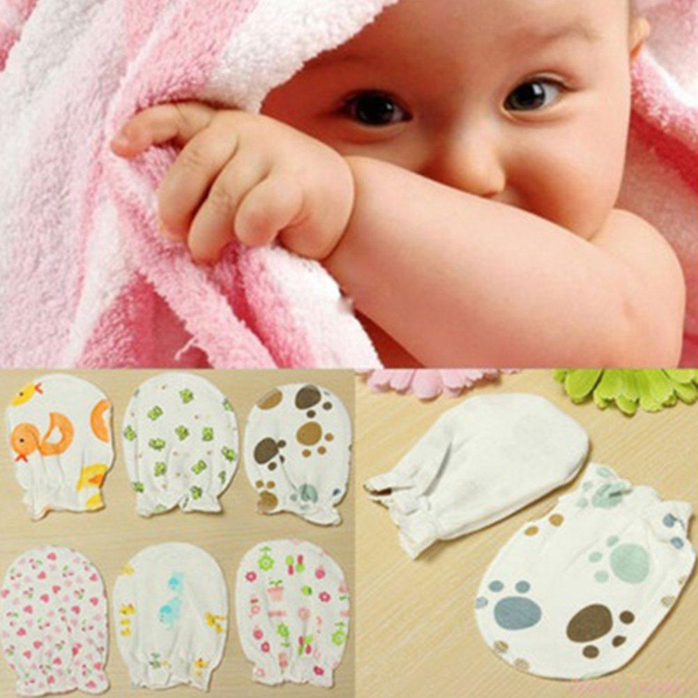 3paires paires nouveau-né Centre, coton doux anti Scratch Moufles Gants, gants de naissance Cadeau YongYI