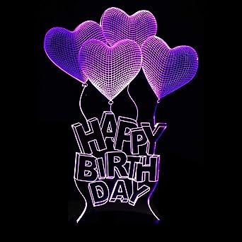 Color 7 Feliz Vision Cumpleaños Led Night 3D Light Usb f6bgY7yv