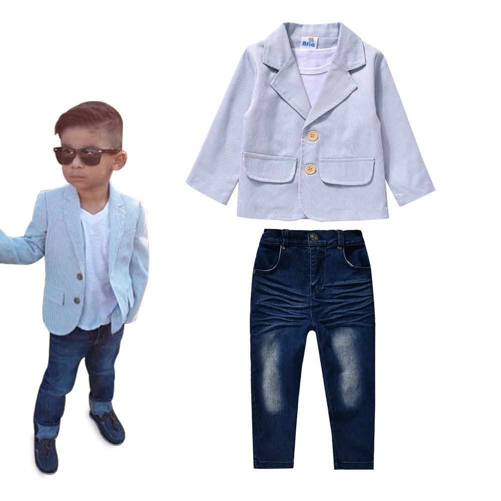AJia 3 Pieces Baby Boys Shirt Jacket Jeans Set Toddler Pants Clothing (2)
