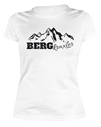 ea18afee903b5d Damen T-Shirt Wandern Bergsteigen Klettern   BERGkraxler - lustiges Sprüche  Sportshirt Frauen Farbe  Weiss  Amazon.de  Bekleidung