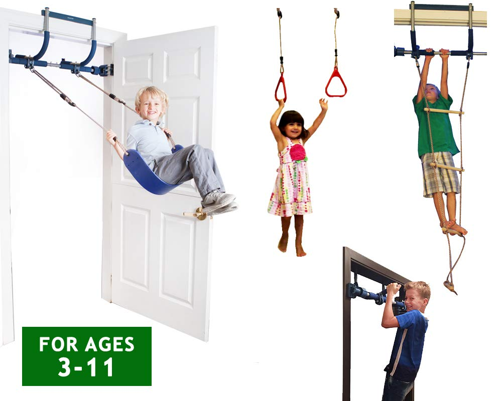 Gym1 Indoor Playground with Indoor Swing, Plastic Rings, and Climbing Ladder by Bonobo Gym by Gym1