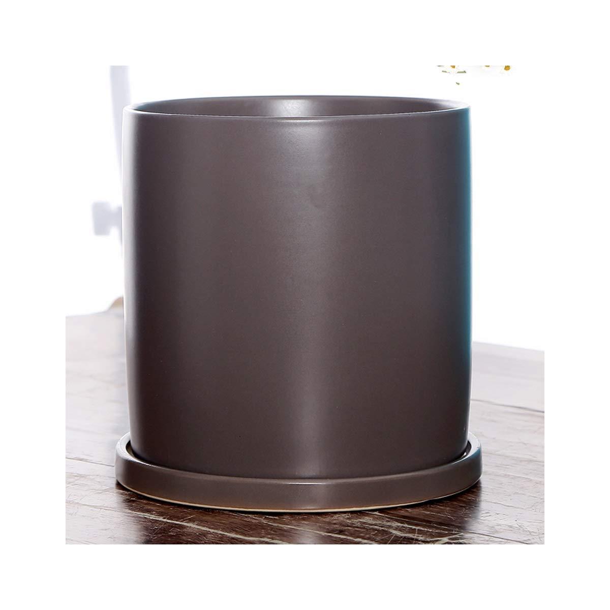 YINJIESHANGMAO Ceramic Flower Pot, Cylindrical Flower Pot with Tray Materials (Color : Brown, Size : Medium) by YINJIESHANGMAO