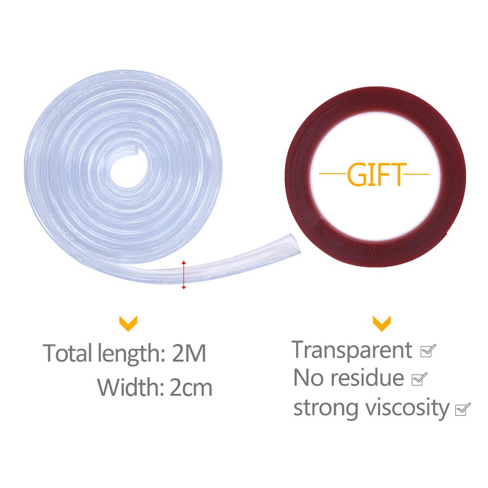 Transparent 1M Furniture Table Edge Corner Guards for Child and Baby Proofing Shelf Sharp Corner Protectors Guards +Tape YOFASEN Clear Edge Guard