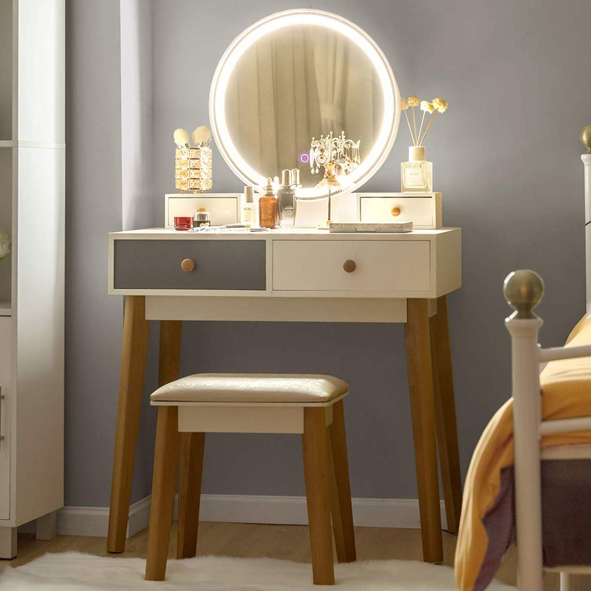 CHARMAID Vanity Set with 3 Color Touch Screen Dimming Mirror, Dressing Table with 4 Sliding Drawers and Touch-Screen Light Control Mirror, Makeup Table and Cushioned Stool Set for Women Girls (Gray) by CHARMAID