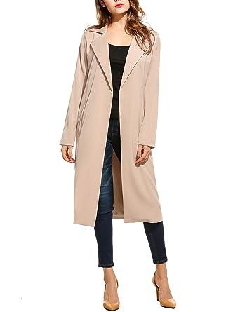 69c2269aa0849 Zeagoo Long Trench Coat Women's Open Front Casual Lightweight Blazer  Cardigans Fall Warm Blazer Coat Work