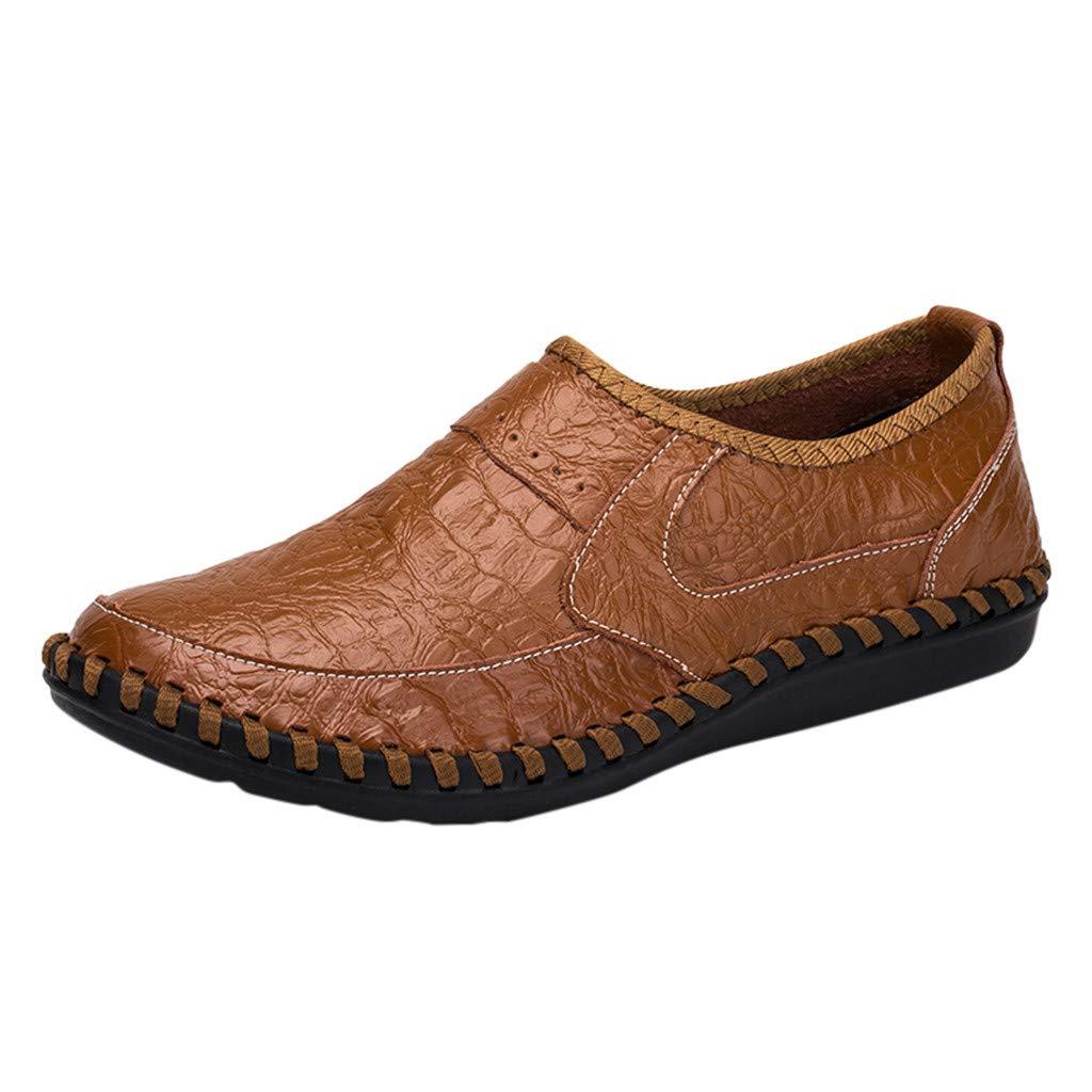 Shusuen Men's Vintage Noble Loafer Shoes Slip-on Loafer Smoking Slipper PU Loafer Brown by Shusuen