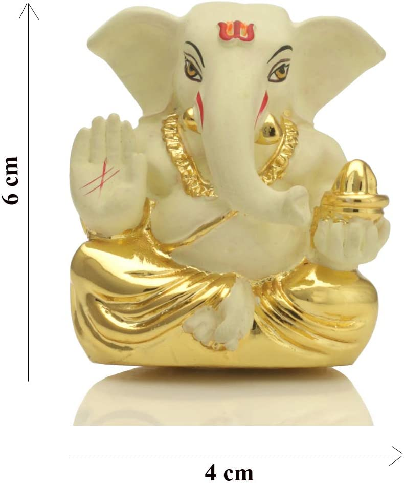 craftvatika Gold Plated Off White Terracotta Appu Ganesha for Car Dashboard Statue God Ganesh Murti Ganpati Idol FigurineHome Decor Size: 6 cm x 4 cm