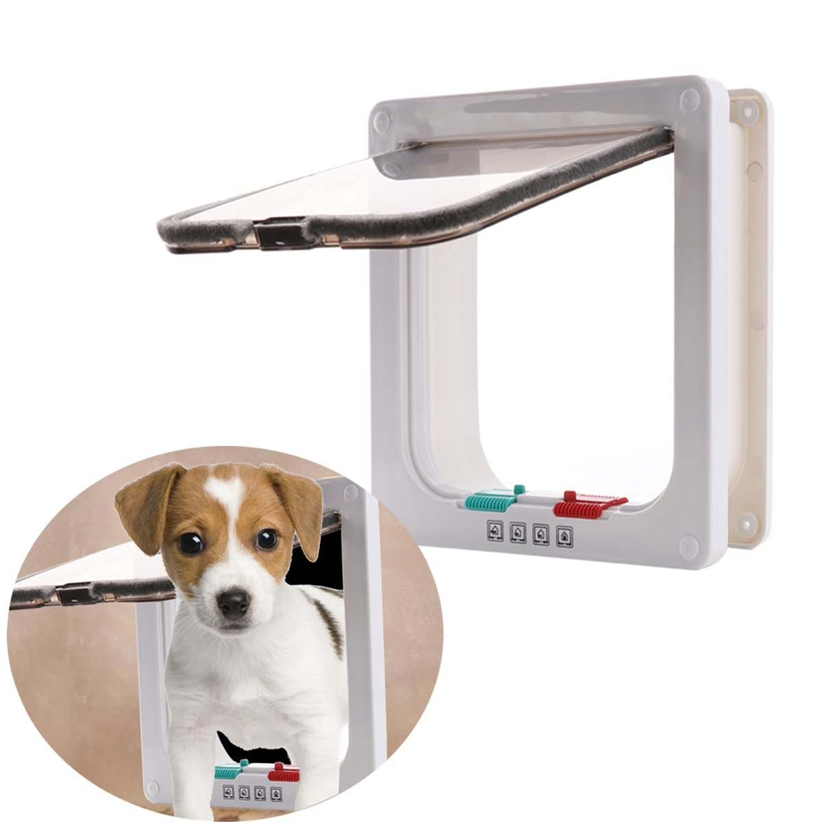 Cat Flaps Cat Doors Pet Supplies Locking Kitten White Door Kit for Small Animals for Sliding Door, Secures Your Pet with 4 Way Locking Cat Door White Large Size by CHICTRY (Image #4)