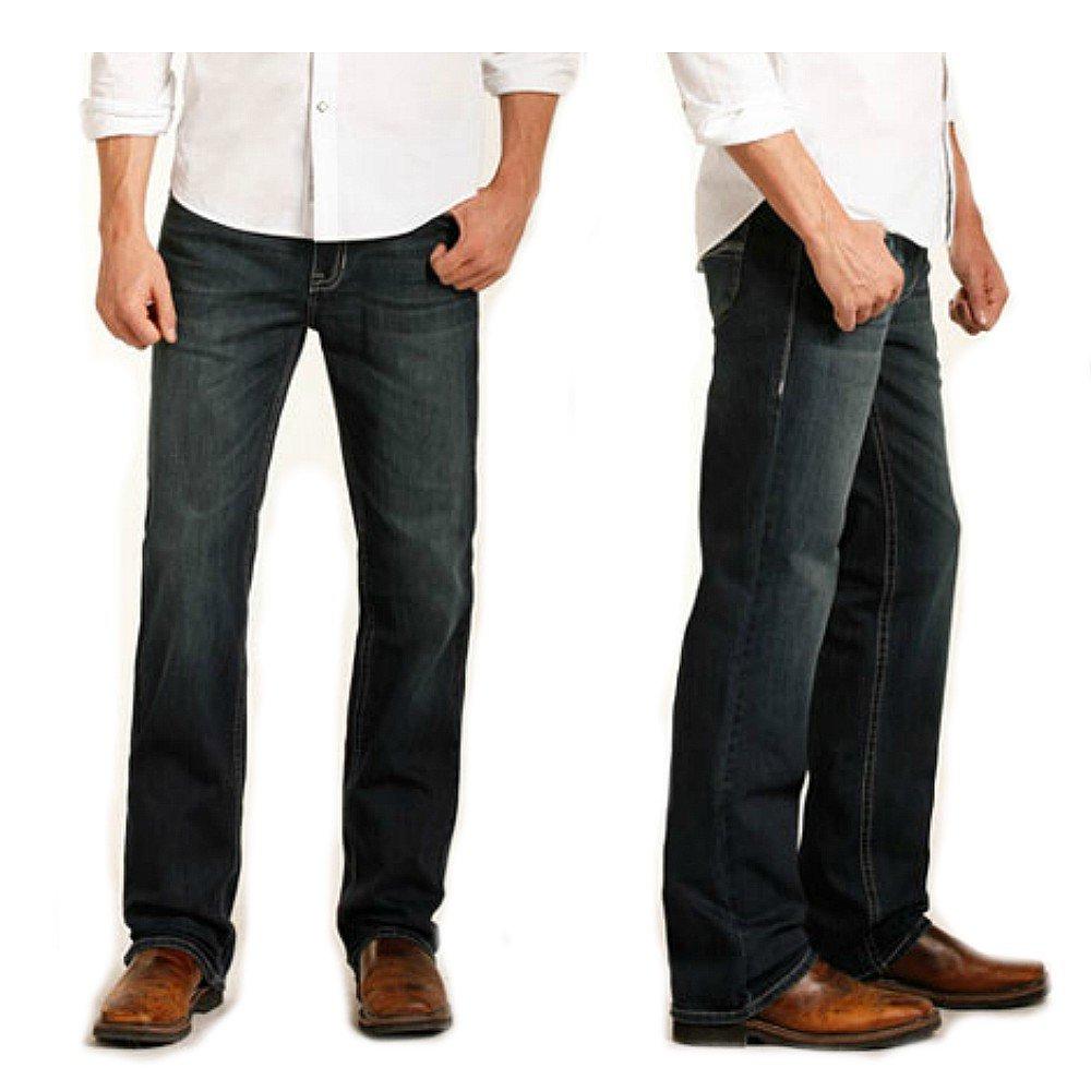Rock /& Roll Cowboy Mens and Raised Denim Reflex Double Barrel Jeans Straight M0s3469