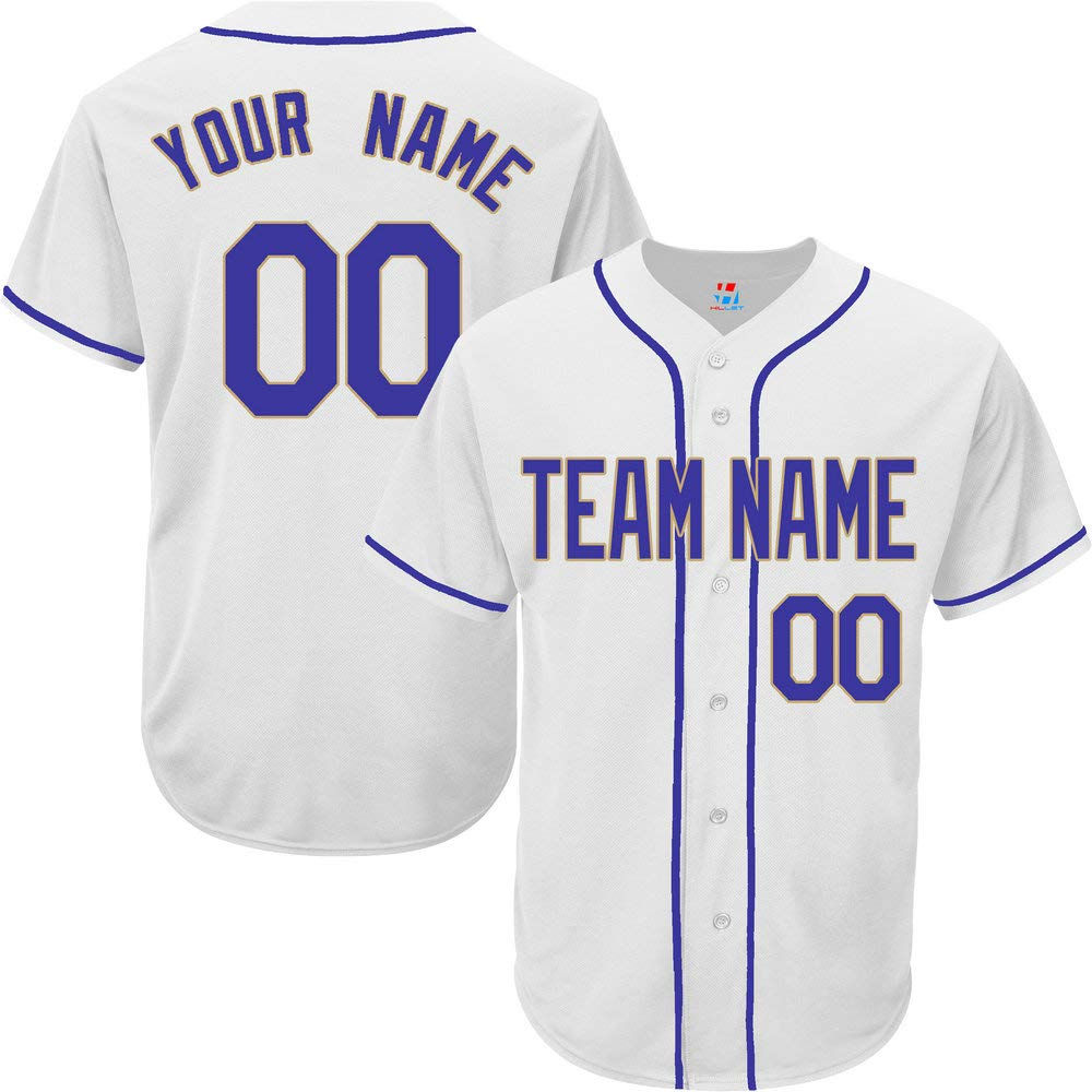 Pullonsy White Customized Baseball Jersey for Women Full Button Embroidered Name,Royal Blue-Gold Size S by Pullonsy