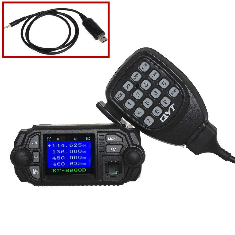 QYT KT-8900D 25W 20W UHF VHF Two-Way Radios Dual Band Car Radios Quad-Standy Walkie Talkie with Mini Color Screen Speaker USB Programming Wire Version 1