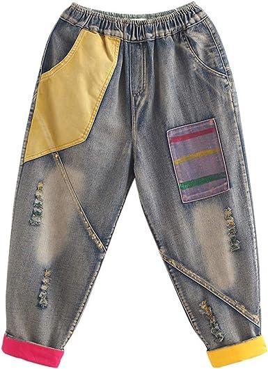 BaronHong Boyfriend Ripped Denim Jeans para Mujer Algodón Parche ...