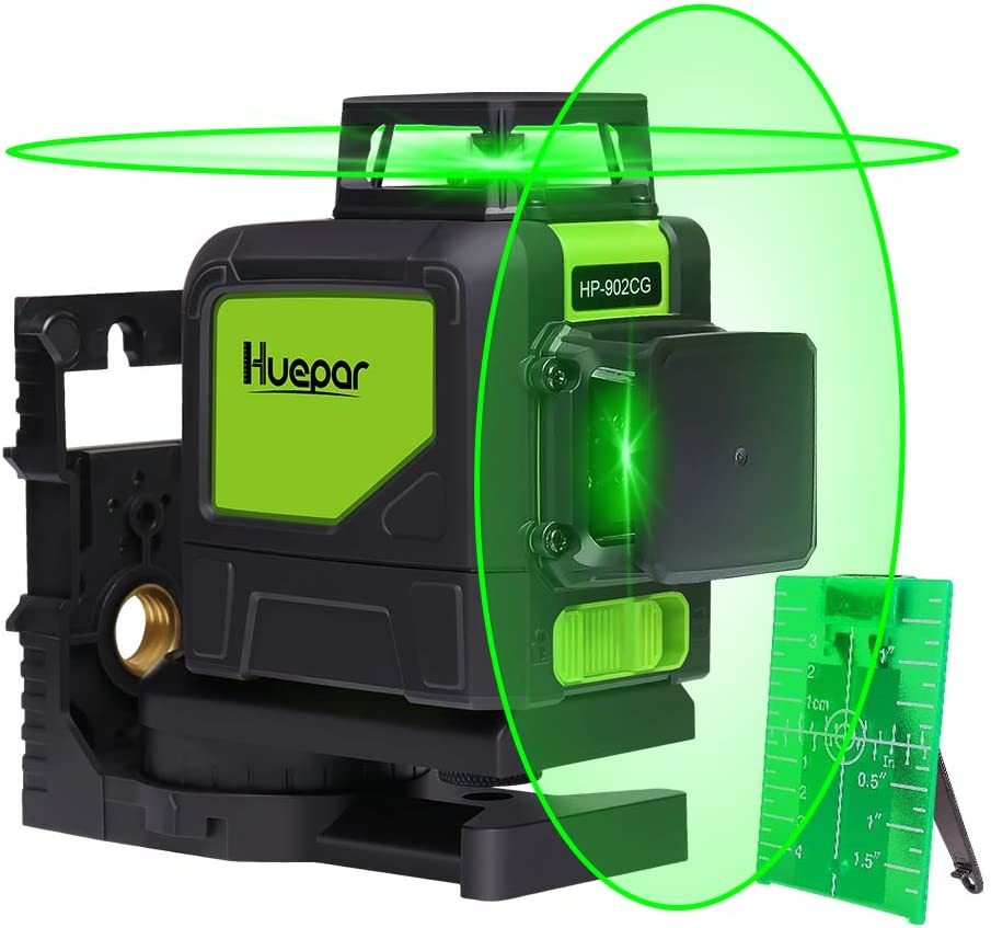 Huepar 902CG Self-Leveling 360-Degree Cross Line Laser Level