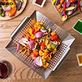 ONE FIVE DAY New, Grade Stainless Steel Vegetable Grill Basket Large Non Stick BBQ Grid Pan for Veggies Meat Fish Shrimp Fruit BBQ Accessories Tool for Women, Men and Housewife