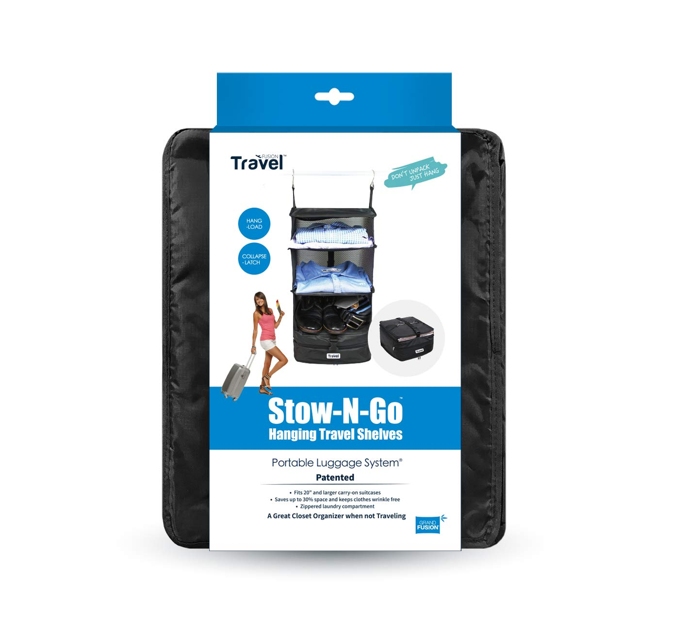 Packable Hanging Shelves and Travel Organizer Black Small Stow-N-Go Portable Luggage System