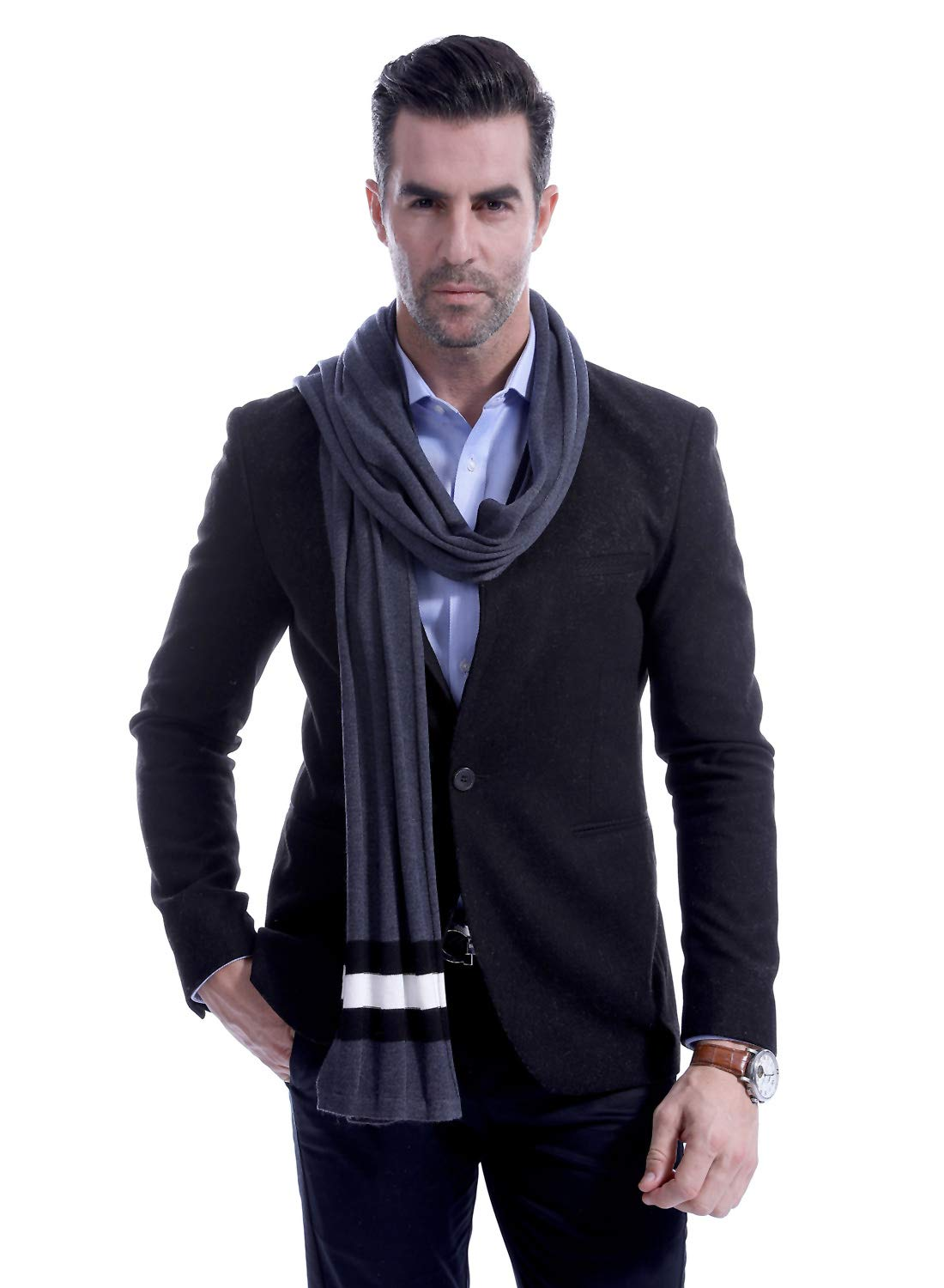 Men Plain Thermal Scarf Knitted Striped Winter Scarves One Size Leisure Business Men Warm Neckerchief Gray by Panegy (Image #3)