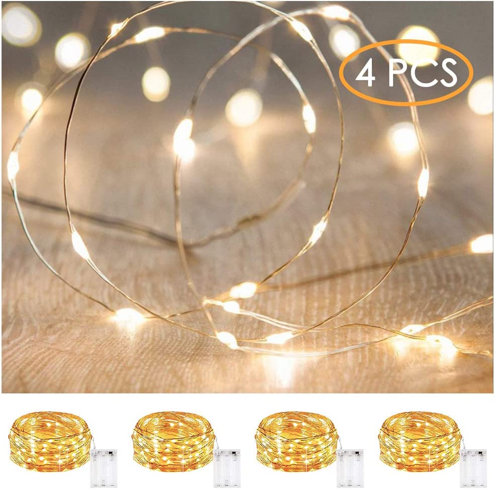 xinkaite Led String Lights Waterproof – 9.8ft /30 LEDs Fairy String Lights Battery Operated for Indoor Outdoor String Lights Wedding, Home, Garden, Party, Christmas Decoration, 4pcs(Warm White )