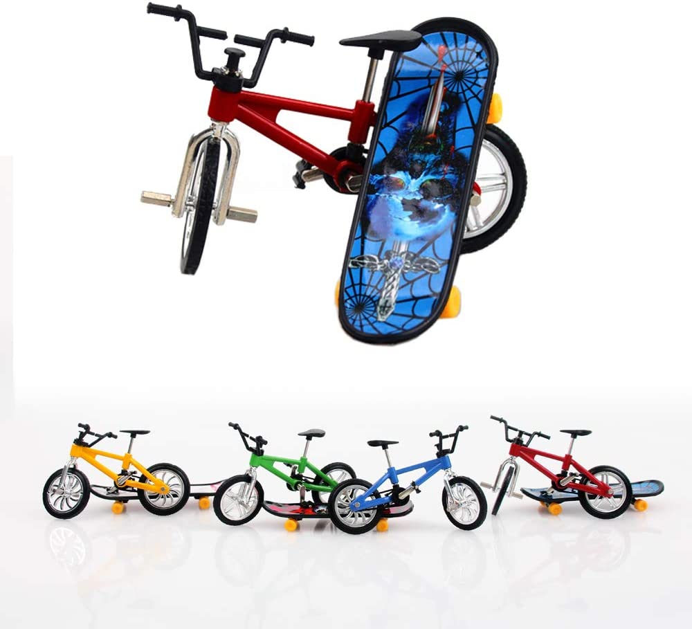 TangTanger 7 Pcs Mini Finger Skateboards and Bikes Cool Sports Finger Skateboards Finger Bicycle Accessories Toy Creative Game Gifts