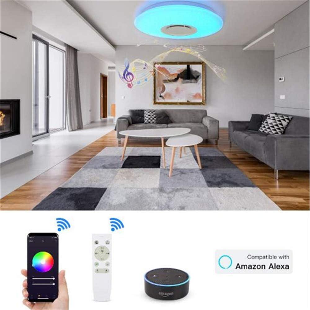 JFIOSD Smart WiFi Deckenleuchte, Bluetooth Lautsprecher LED Pendelleuchte Kompatibler Amazon Alexa Google-Assistent, RGB-Farbtemperatur Einstellbar Unterputz-Leuchte,Round 48w Round 36w