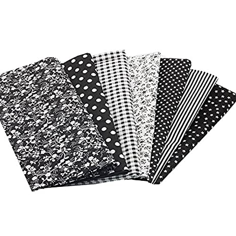 7 Telas diseños negros de 50 X 50 cm para manualidades, costura, scrapbooking,