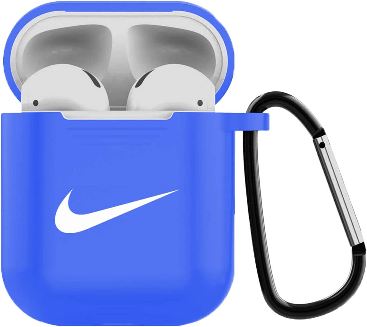 AirPods Case Cover Silicone Skin with Keychain for AirPods Case Generation 2 and 1 Blue