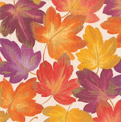 Fall Decor Thanksgiving Napkins Autumn Wedding Ideas Leaves Paper Cocktail Napkin Pk 40 (Napkins Autumn)