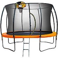 Kahuna Trampoline 10 ft with Basketball Set Outdoor Round Pad Mat Net Ladder Spring- Orange
