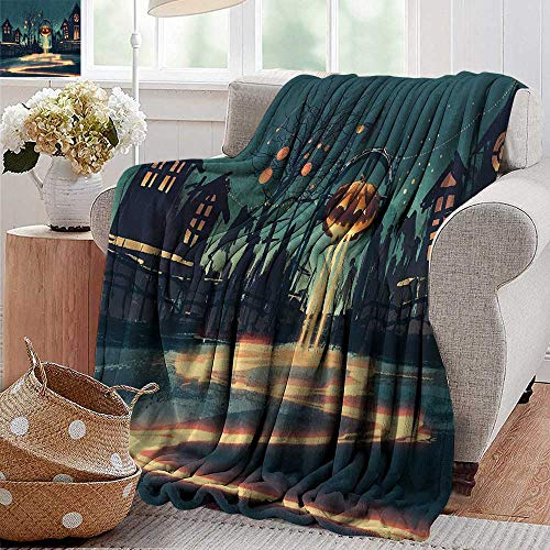 PearlRolan Sand Free Beach Blanket,Fantasy Art House Decor,Halloween Theme Night Pumpkin and Haunted House Ghost Town Artful,Teal Orange,Soft Summer Cooling Lightweight Bed Blanket 50