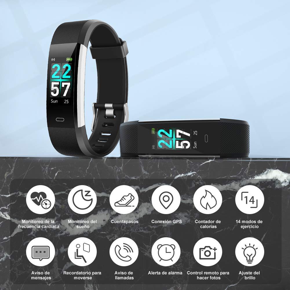 Glymnis Pulsera Actividad Inteligente Pulsera Deportiva IP68 con 14 Modos de Deporte Compatible con iOS y Android
