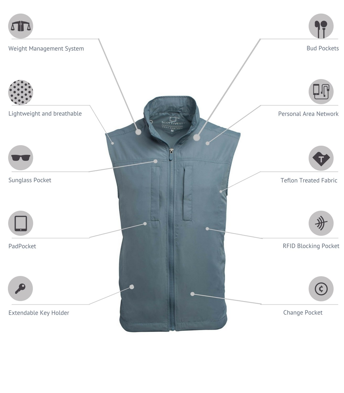 SCOTTeVEST Men's Featherweight Vest - 14 Pockets - Travel Clothing CMT L by SCOTTeVEST (Image #2)