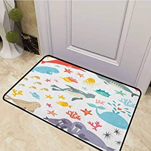 DESPKON Bath Mat Whale Squid Sea Lion Shark Jellyfish Clownfish Dolphin Starfish Stingrays Colorful Non Slip Floor Entrance Door Mat Perfect for Indoor and Outdoor Use Multicolor 24 x 47 Inch