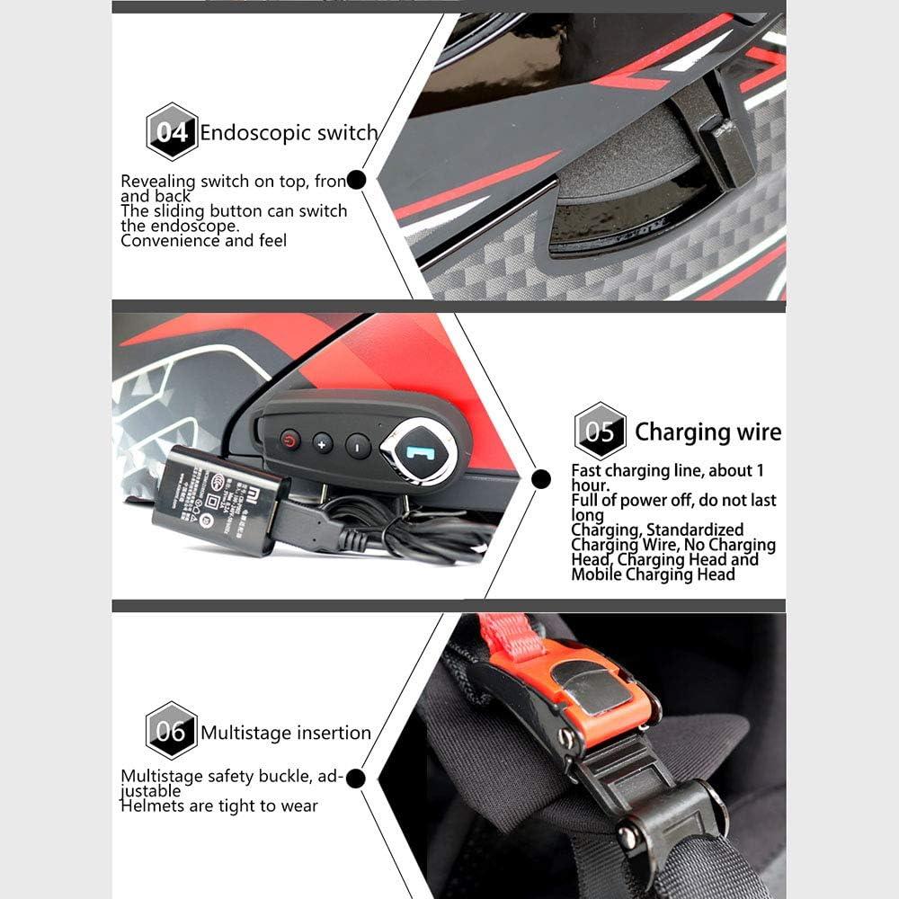 FM NBZH Modulare Motorradhelme Bluetooth DOT /& ECE-Zertifizierung Klappbare Tourenhelme Integriertes Bluetooth-Headset mit Zwei Lautsprechern und Mikrofon f/ür die automatische Beantwortung