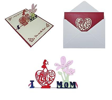 Amazon Handmade Craft 3d Pop Up Greeting Card I Love Mom You