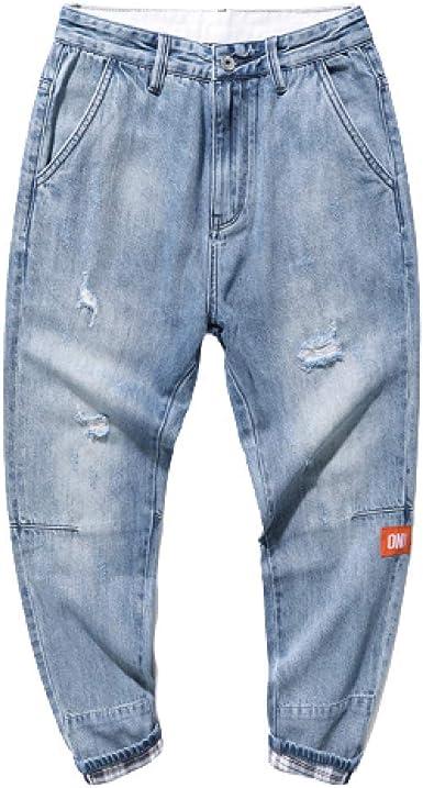 Pantalones De Hombre Jeans Tubo Recto Suelto Color Solido Agujero Talla Grande Casual Pierna Ancha Nueve Puntos Pantalones De Haren Amazon Es Ropa Y Accesorios