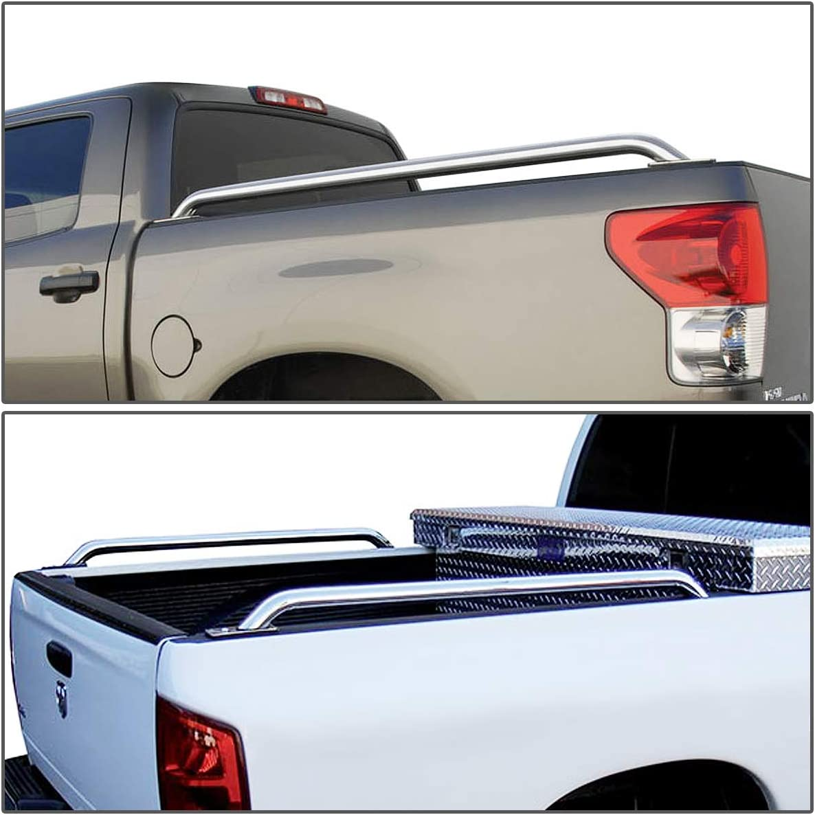 DNA MOTORING RAIL-005-SS Pair of Truck Rails for 99-00 Chevy GMC Dodge 1500 2500 3500 8ft Bed