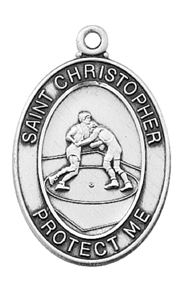 Silver St. Christopher Boy's Wrestling Medal, 1-1/8 L, with 24'' Chain