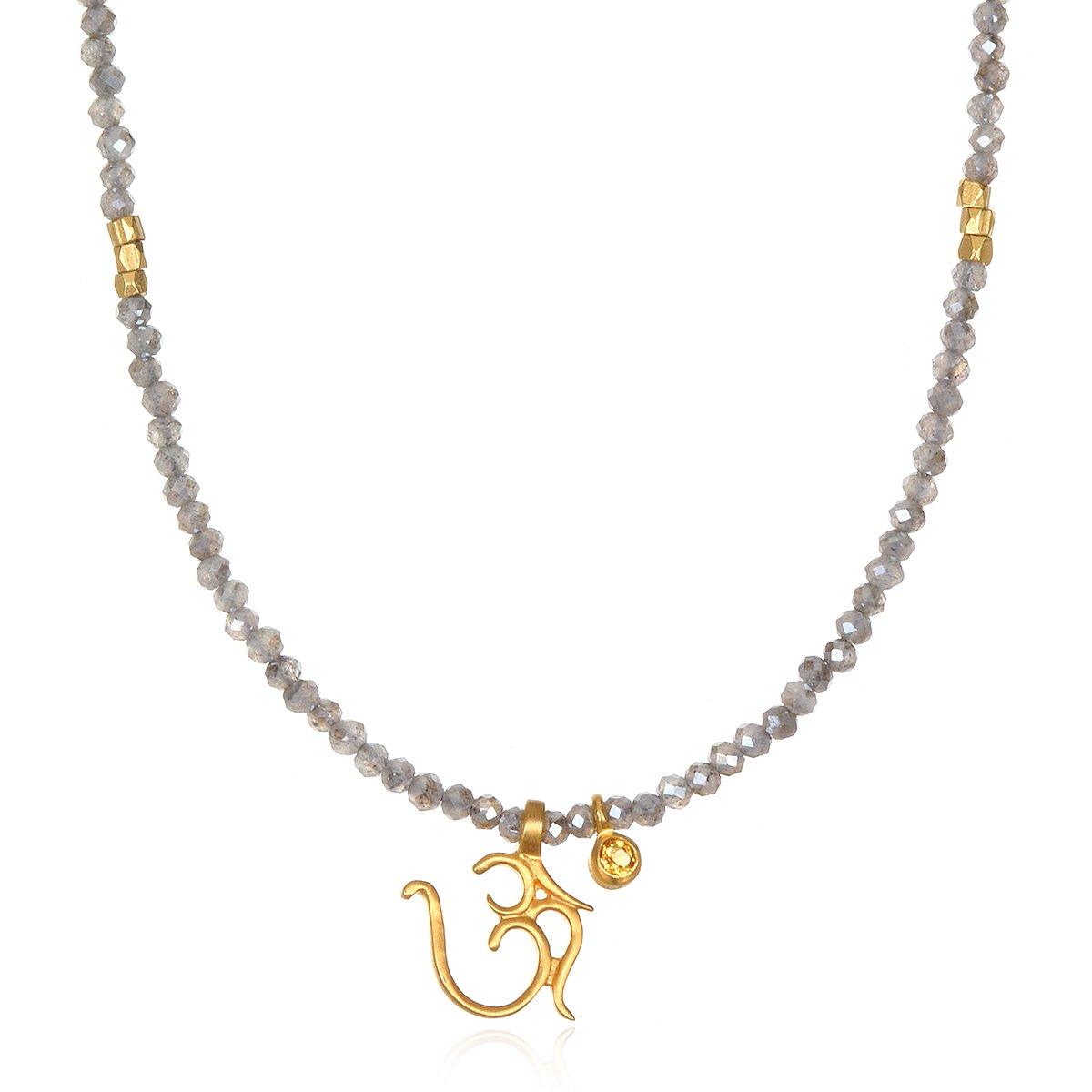 Satya Jewelry Labradorite & Citrine Gold Plate Om Pendant Necklace