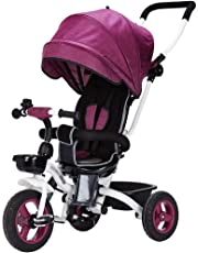 Creative Front-Wheel Clutch Seat Rotatable Child Tricycle, Detachable Height Adjustable Kid's Pedal Trike Bike Bicycles, Foldable Baby Trolley with Sunshade