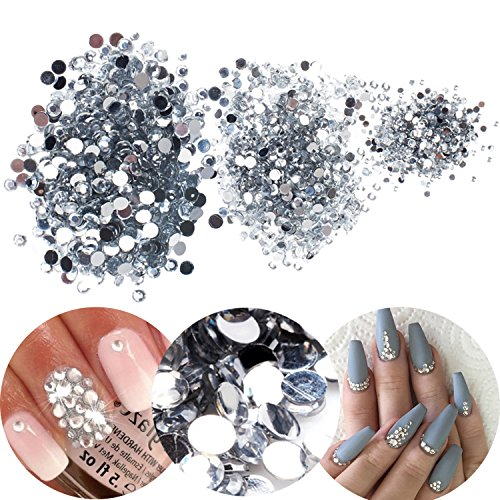 3D Nail Art Manicure Designs Box Case With 3000pcs Clear Transparent Colored Rhinestones Crystals Gems Jewels Decorations In 3 Different Sizes