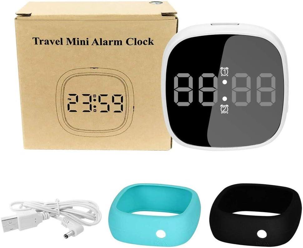 Snooze 2 R/éveils Intelligents avec Alimentation Contr/ôle du Son HNHT Digital Alarm Clcoks Petit R/éveil De Voyage Num/érique Simple avec Double R/éveil