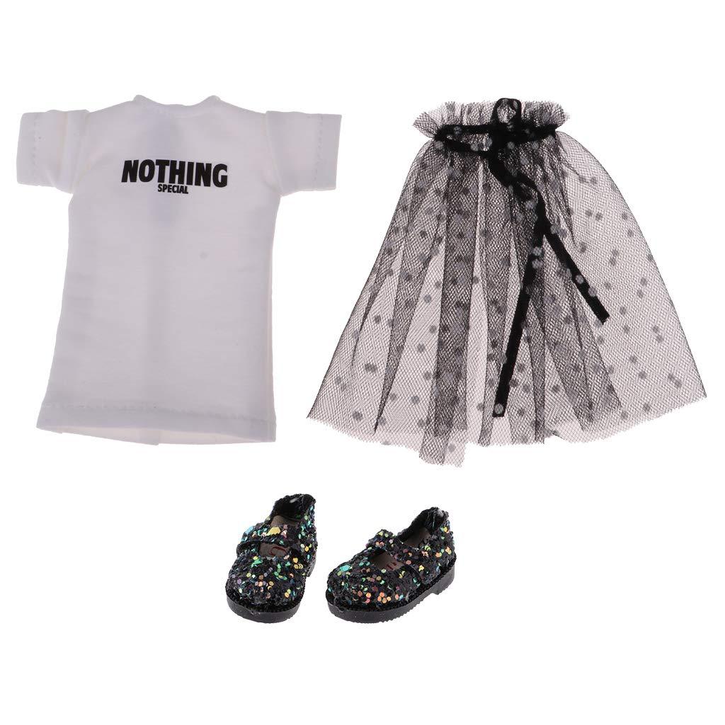 KESOTO Falda de Gasa con Camiseta de Mu/ñecas 12 Pulgadas Accesorios de Moda