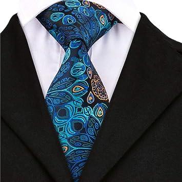 AK Corbata de corbata para hombres Corbata floral azul marino ...