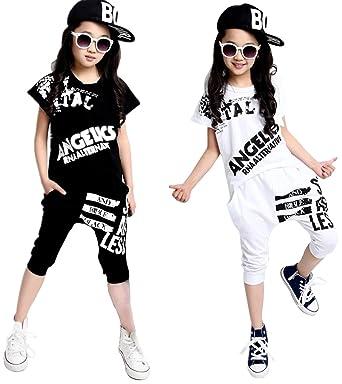 e8737422dfd60 JunRuo 2点セット キッズ ヒップホップ ダンス衣装 ダンスウェア 子供用 男の子 女の子 t