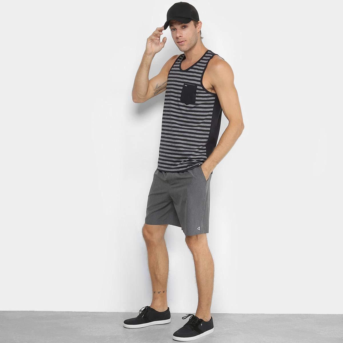 61ed045eba Regata Hurley Stripe Bolso Masculina - Mescla Escuro - G  Amazon.com.br   Amazon Moda