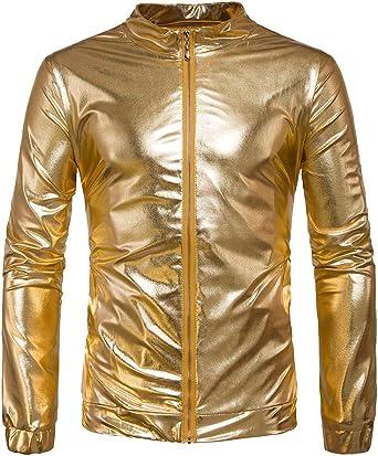 Mengmiao Hombre Ajustado Club Disco Casual Dorado Brillante Camisa: Amazon.es: Ropa y accesorios