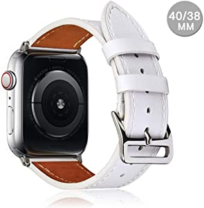 Compatible with Apple Watch Leather Band 42mm 44mm 38mm 40mm | Genuine Leather Replacement Band | Series 5 4 3 2 1 (Classic-White, 40mm/38mm)