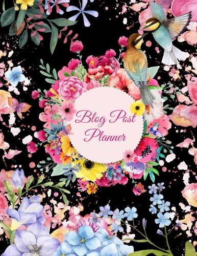 Blog Post Planner: Flowers Garden Black Color, Daily Blogger posts for 3 Months, Calendar Social Media Marketing, Large Size 8.5