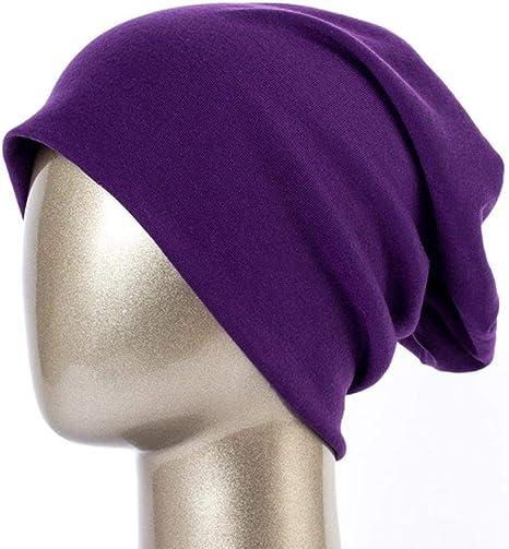 Sombrero Gorro Liso para Mujer Gorro Holgado De Algodón De Primavera para Mujer Gorro De Punto Gorro De Calavera para Mujer, Púrpura: Amazon.es: Deportes y aire libre