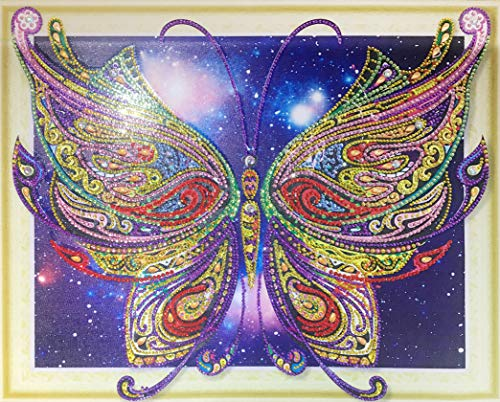 Diamond Painting Kits for Adults by Heartful Diamonds – Galaxy Butterfly – 40x50cm (16x20 in) – 5D Round Partial Drill Art – Birthday, Anniversary, Christmas Gift Home Living Bed Room Decor (L